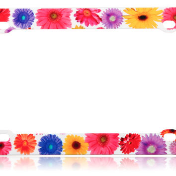 Gerber Daisy Flower License Plate Frame Car Accessory