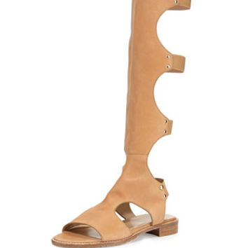 Stuart Weitzman Backview Leather Gladiator Sandal, Pecan