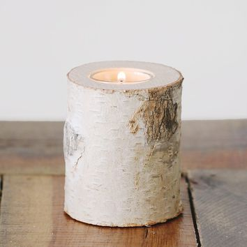 "Wood Log Candle Holder with Glass Insert - 4"" Tall"