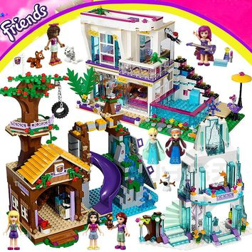 Friends LegoINGly Princess Girl Building Blocks Compatible Elves Dragon Mermaid Palace Elsa Ice Castle Pumpkin Carriage House