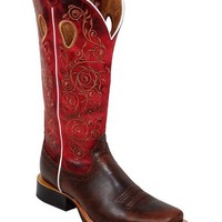Twisted X Ruff Stock Red Embroidered Cowgirl Boots - Square Toe - Sheplers