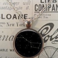 Stars Necklace, Big Dipper, Constellation, Moon, Sun, Stars, Space, Whimsical, Steampunk T1068