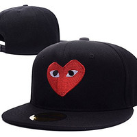 HAIHONG Play Comme Des Garcons Red Heart Eyes Logo Adjustable Snapback Embroidery Hats Caps - Black