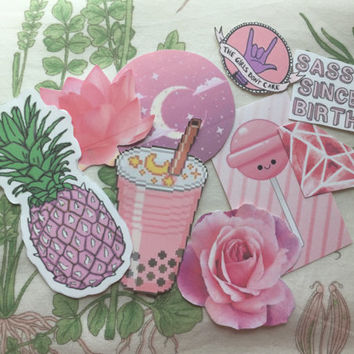 Pink tumblr sticker set