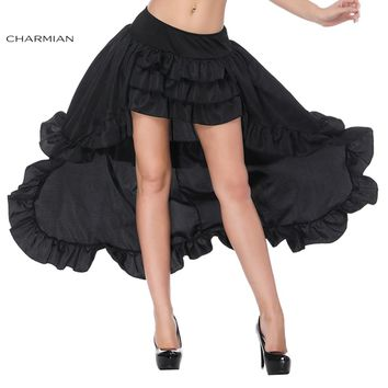Charmian Women's Sexy Victorian Gothic Retro Skirt Summer Black Punk High Waist Ruffle High Low Mini Skirt