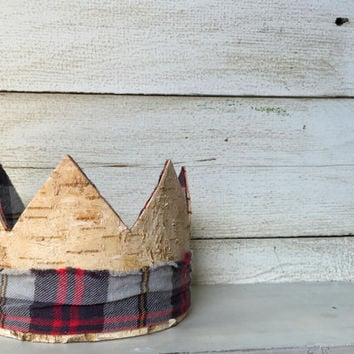 Birch Wood Crown, Party Hat- Lumberjack Baby Boy- Birthday Crown, Rustic Wood and Flannel, Prince Party Crown Photo Prop