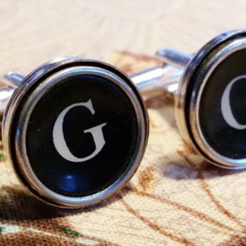 Silver Letter G Cuff Links, Mens Jewelry, Typewriter Cuff Links, Vintage G Typewriter Keys, Initial G Cufflinks, Personalized Men's Jewelry