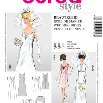 60s Inspired Wedding Dress, Wedding Gown and Jacket Sewing Pattern, Formal Dress, Mad Men, Burda 7112 Sizes 8, 10, 12, 14, 16, 18, uncut