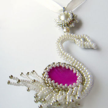 Bead White Swan Pendant, White necklace, Pink necklace, Unique Pendant, Elegant Necklace, Beaded Necklace