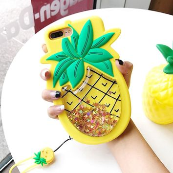 Fashion Liquid Quicksand Case For iPhone 6 6S 7 8 Plus 3D Star Sequin Pineapple Soft Silicone Phone Cases