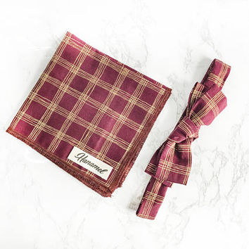 Hanamel Burgundy Gold Lines Straight Bow Tie + Burgundy Pocket Square -Rustic Bow Tie - Stocking Stuffers - Wedding Maroon Bow Tie