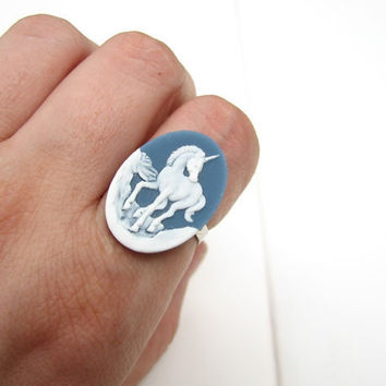 unicorn ring - slate blue & white