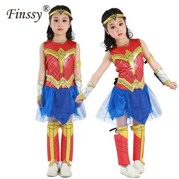 Wonder Woman Cosplay Costume for Girls Deluxe Child Dawn Of Justice Wonder Woman Costume Halloween Costume for Kids Party Dress