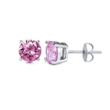 Kids Platinum Over Sterling Silver Pink Cubic Zirconia Round Shape