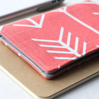 SAMPLE SALE - Checkbook Cover -  Coral Arrows