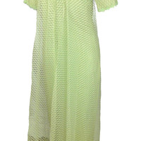 Mod 60s Prom Dress Formal Daisy Trim Celery Green Lace Bridesmaid