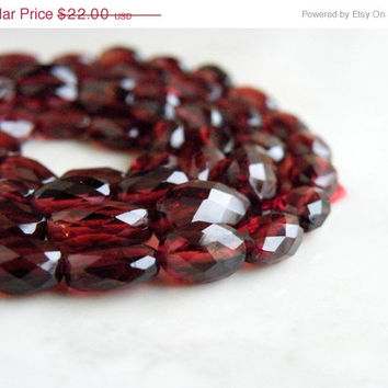 51% OFF Mozambique Garnet Gemstone Briolette AAA Faceted Oval Nugget Center Drilled 8.5 to 9mm 16 beads