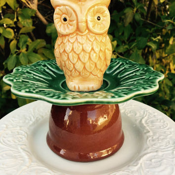 Owl Tiered Dish, Garden Whimsy, Recycled Ceramic Dish Art, Jewelry Holder, Trinket Dish, Yard Art, Garden Totem, Dresser Tray, Gift Idea