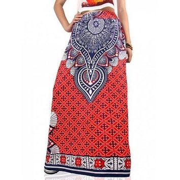 High Waist African Print Maxi Skirt - Red M