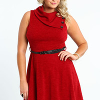PLUS SIZE BURGUNDY KNIT FOLDOVER DRESS