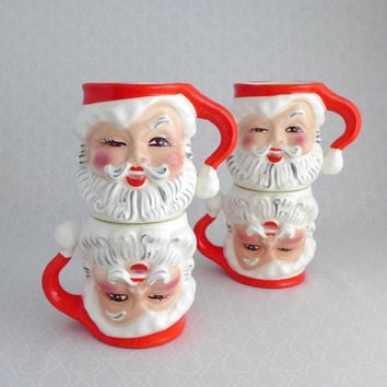 Santa Claus Mugs, Napco, Set of Four, Mid Century, Winking Santa Cups, Vintage Christmas, Red White Ceramic, Retro Holiday Serving