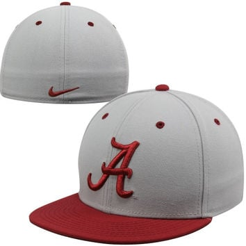 Nike Alabama Crimson Tide True Colors Authentic Performance Fitted Hat - Gray/Crimson