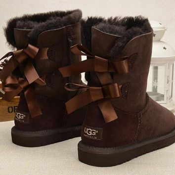 UGG Fashion Women Fur Bow Wool Snow Boots In Tube Boots Shoes Coffee