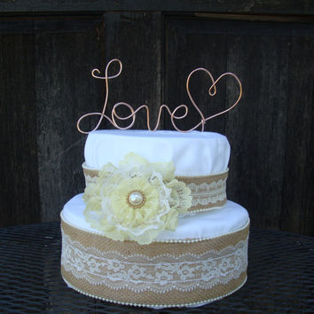 Love wire cake topper,Custom cake topper, wedding cake topper, rustic wedding decor,wedding cake, wire cake topper,