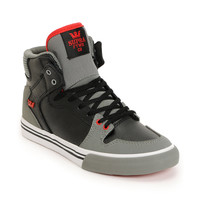 Supra Kids Vaider Red & Grey High Top Skate Shoes at Zumiez : PDP