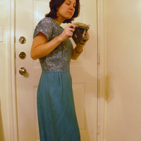 60s Mad Men Blue Lace and satin Holiday pinup Party Dress L