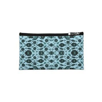 Vintage Floral in Aqua and Dark Teal Cosmetics Bags from Zazzle.com