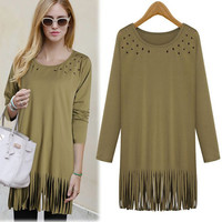 Plus Size Tassel Hollow Long T-shirts