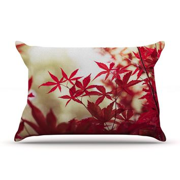 "Ann Barnes ""September Afternoon"" Red Leaves Pillow Case - Outlet Item"