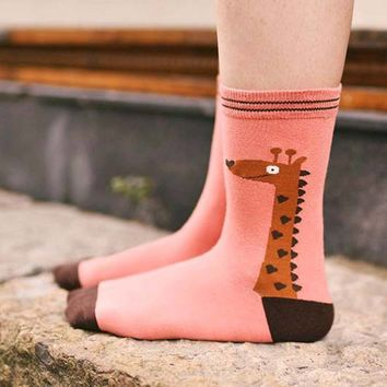 Unisex Giraffe Print Animal Themed Cotton Socks in Pink | DOTOLY