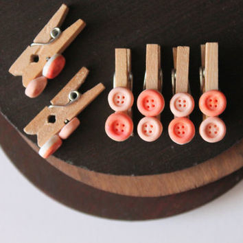 "Set of 6 decorative mini clothes pins ""slate"" decorated with buttons handmade with polymer clay, cute organization cute plannifier"