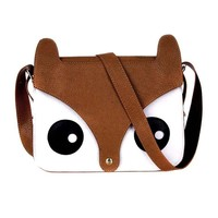Owl Fox Face Shaped Animal Themed Cross body Shoulder Bag for Women in Brown
