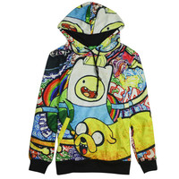 Adventure Time All Over Print Jake and Finn Cartoon Collage Hoodie