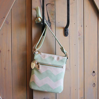 The Chevron Cross Body Tote in Mint