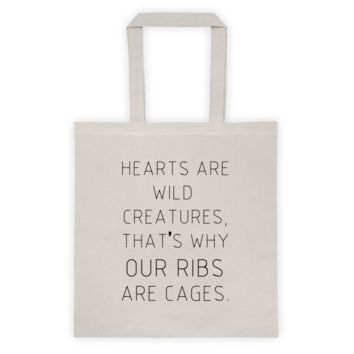 Hearts Are Wild Creatures Canvas Bag