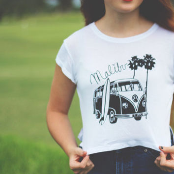 VW Bus Palm Trees Surfing California Malibu Crop Top Brandy Melville Tumblr Hipster