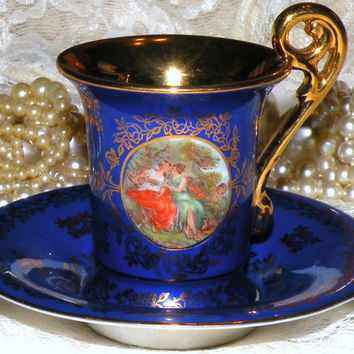 Demitasse Cup Saucer Set Germany Cobalt Blue Filigree Gold Garden Scene Cherubs Espresso Cup and Saucer