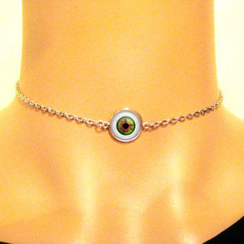 Eyeball Chain Choker, 90s Grunge, Evil Eye Necklace, Chain Link Choker, Human Eyeball