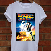 Back To The Future White Crew Neck T-Shirt and Tank Top. Small to X-Large.