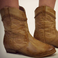 Hunter Hill Brown Distressed Cowgirl Mid Calf Boots