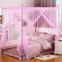 180X200cm Palace Mosquito Curtain Four Corner Bed Netting Canopy Insect Bug Net King Size