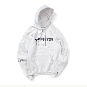 Grateful Drip x Champion (Embroidered) Hoodie // Steel Heather