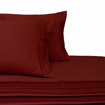 Califronia King BURGUNDY 300 Thread count Solid 100-Percent Combed cotton