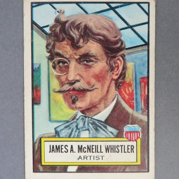 1952 TOPPS Look 'n See Card, James McNeil Whistler Collector's Card, No. 23 Famous Americans Trading Card