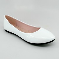 Women's White Shiny Flats