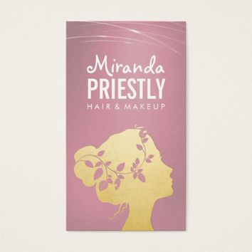 Makeup Artist Pink & Gold Pretty Woman Silhouette Business Card